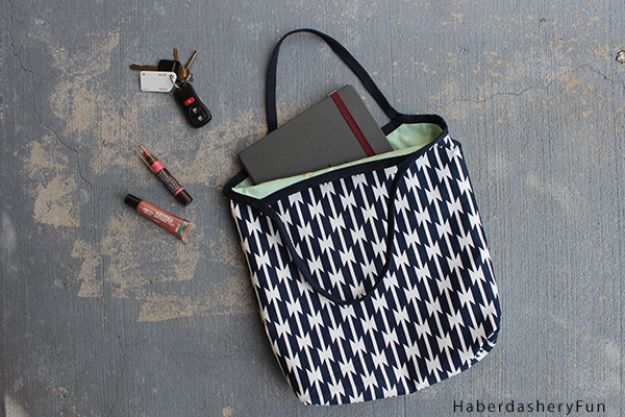 Sewing Projects to Make and Sell - DIY Reversible Tote - Easy Things to Sew and Sell on Etsy and Online Shops - DIY Sewing Crafts With Free Pattern and Tutorial