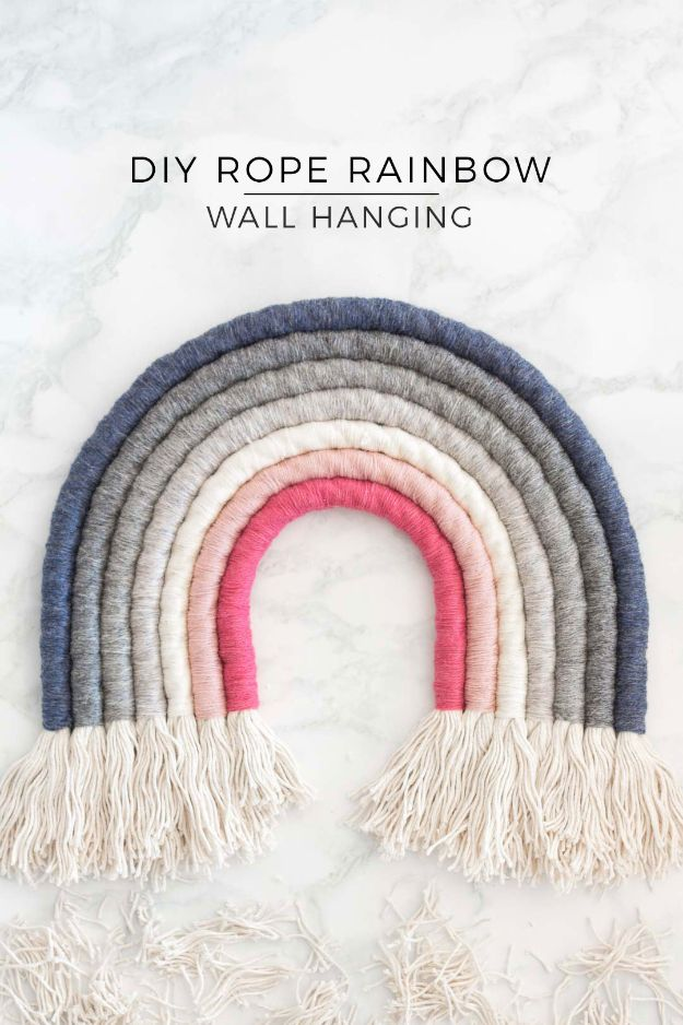 DIY Bedroom Decor Ideas - DIY Rope Rainbow Wall Hanging - Easy Room Decor Projects for The Home - Cheap Farmhouse Crafts, Wall Art Idea, Bed and Bedding, Furniture