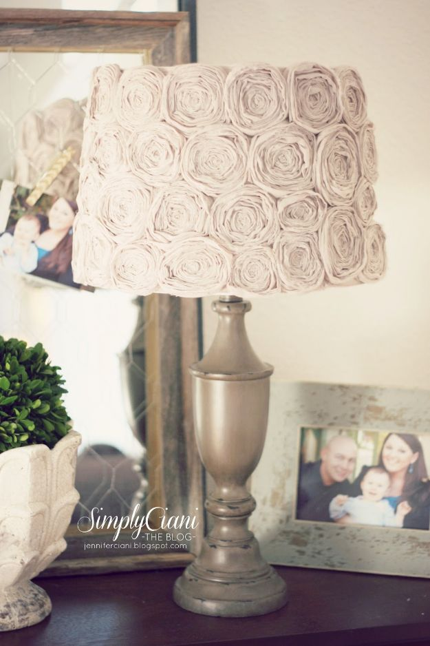 DIY Nursery Decor Ideas for Girls - DIY Shabby Chic Rosette Lampshade - Cute Pink Room Decorations for Baby Girl - Crib Bedding, Changing Table, Organization Idea, Furniture and Easy Wall Art
