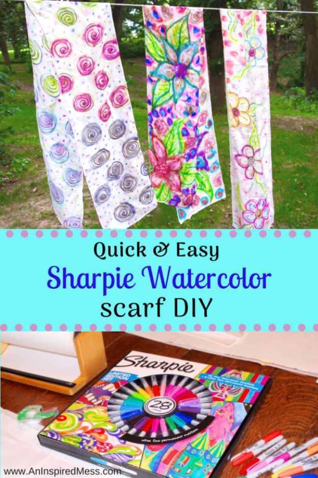 Fun DIY Ideas for Adults - DIY Sharpie Tie Dye Scarf - Easy Crafts and Gift Ideas , Cool Projects That Are Fun to Make - Crafts Idea for Men and Women