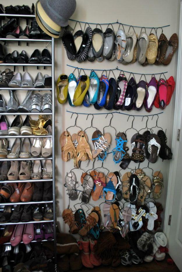 DIY Shoe Racks - DIY Shoe Hanger - Easy DYI Shoe Rack Tutorial - Cheap Closet Organization Ideas for Shoes - Wood Racks, Cubbies and Shelves to Make for Shoes