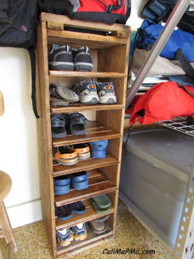 DIY Shoe Racks - DIY Shoe Rack from Scrap Wood - Easy DYI Shoe Rack Tutorial - Cheap Closet Organization Ideas for Shoes - Wood Racks, Cubbies and Shelves to Make for Shoes