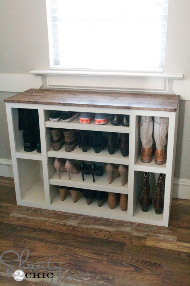 DIY Shoe Racks - DIY Shoe Storage Cabinet - Easy DYI Shoe Rack Tutorial - Cheap Closet Organization Ideas for Shoes - Wood Racks, Cubbies and Shelves to Make for Shoes