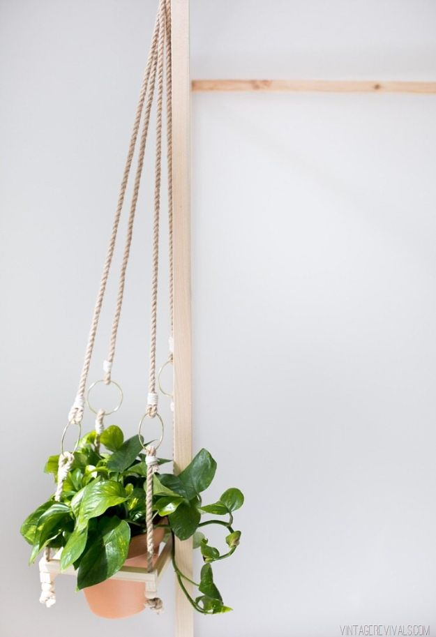 DIY Bedroom Decor Ideas - DIY Simple Boho Hanging Planter - Easy Room Decor Projects for The Home - Cheap Farmhouse Crafts, Wall Art Idea, Bed and Bedding, Furniture