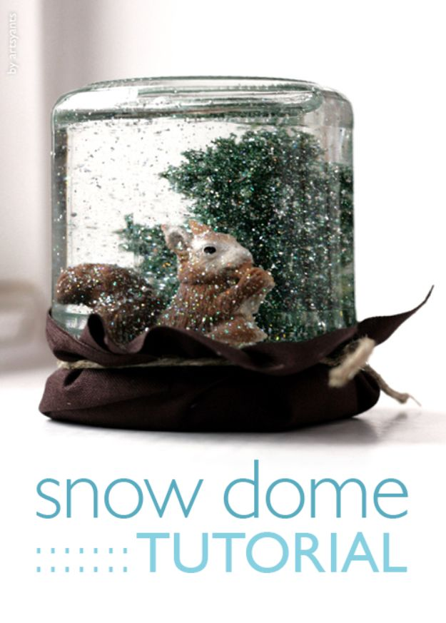 DIY Snow Globe Ideas - DIY Snow Domes - Easy Ideas To Make Snow Globes With Kids - Mason Jar, Picture, Ornament, Waterless Christmas Crafts - Cheap DYI Holiday Gift Ideas