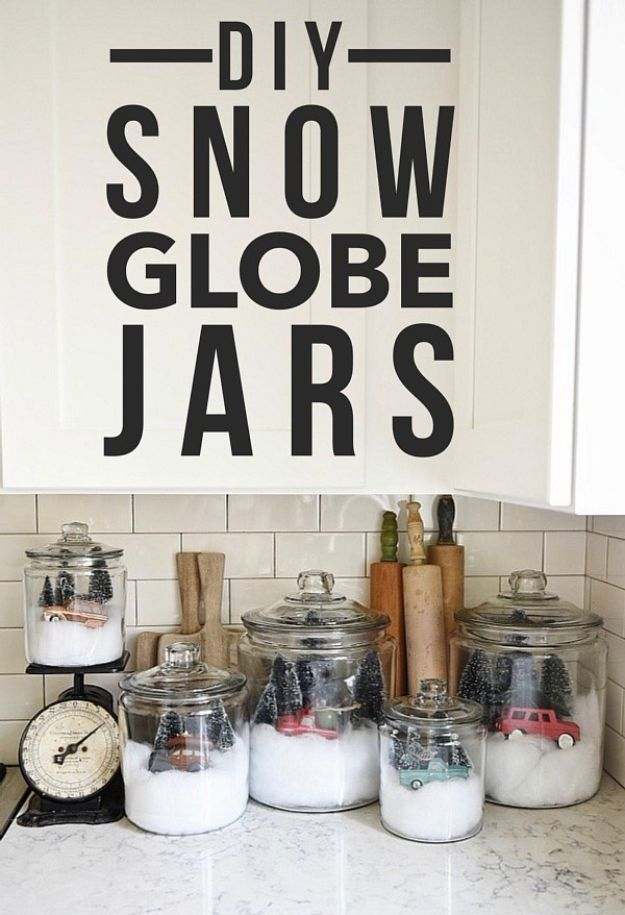 DIY Snow Globe Ideas - DIY Snow Globe Jars - Easy Ideas To Make Snow Globes With Kids - Mason Jar, Picture, Ornament, Waterless Christmas Crafts - Cheap DYI Holiday Gift Ideas