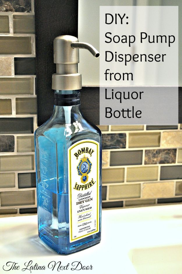 DIY Soap Dispensers - DIY Soap Pump Dispenser From Liquor Bottle - Easy Soap Dispenser Ideas to Make for Kitchen, Bathroom - Mason Jar Idea, Cute Crafts to Make and Sell, Kids Bath Decor