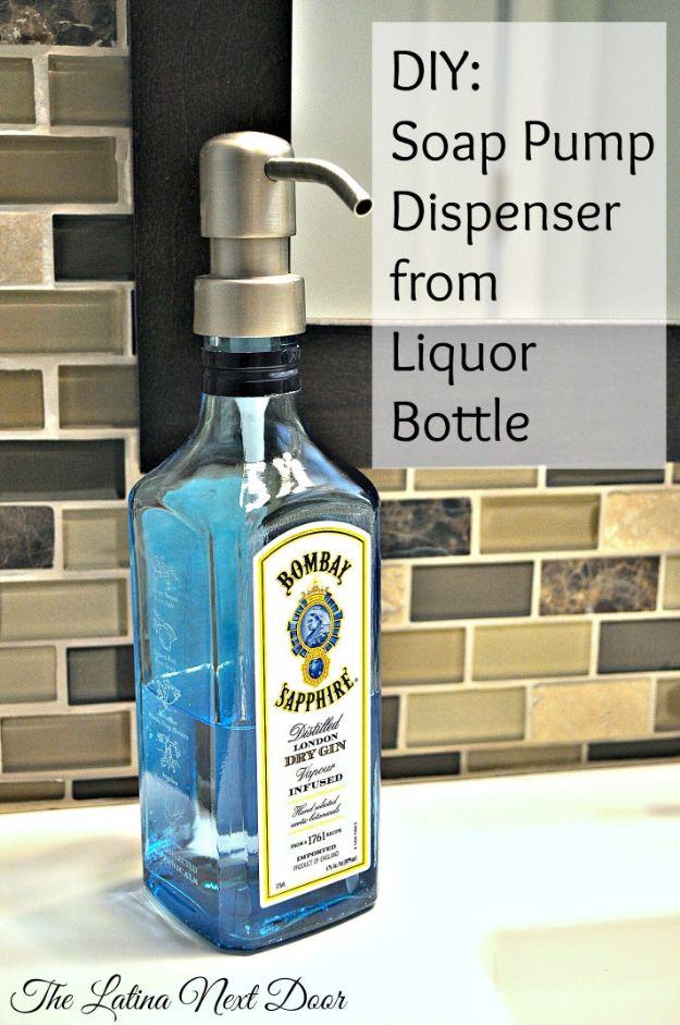 DIY Soap Dispensers - DIY Soap Pump Dispenser From Liquor Bottle - Easy Soap Dispenser Ideas to Make for Kitchen, Bathroom - Mason Jar Idea, Cute Crafts to Make and Sell, Kids Bath Decor
