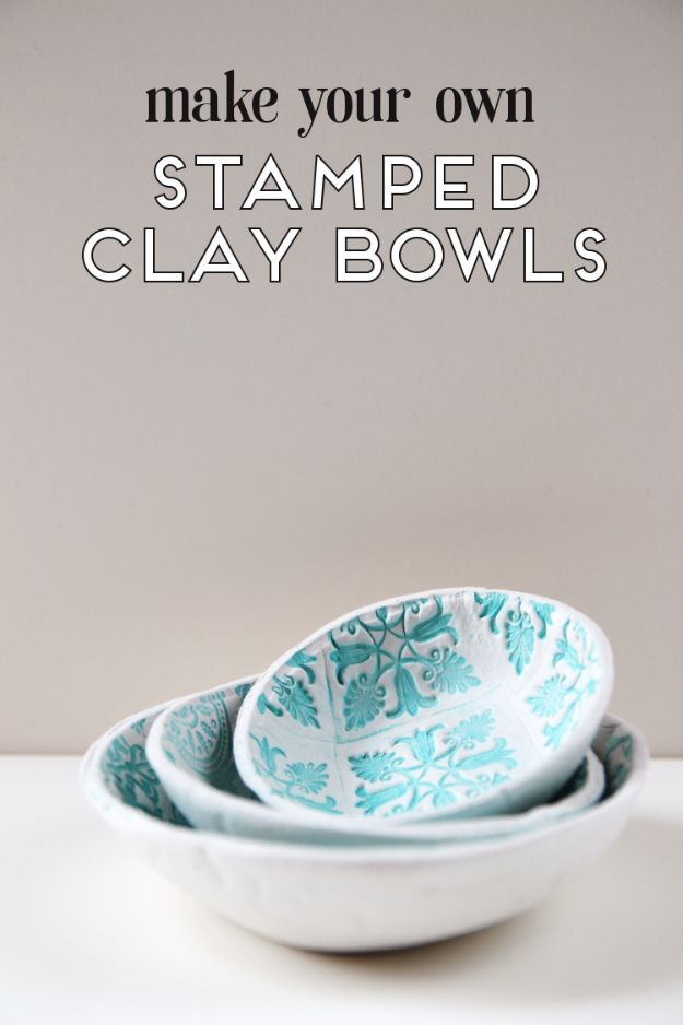 Fun DIY Ideas for Adults - DIY Stamped Clay Bowls - Easy Crafts and Gift Ideas , Cool Projects That Are Fun to Make - Crafts Idea for Men and Women