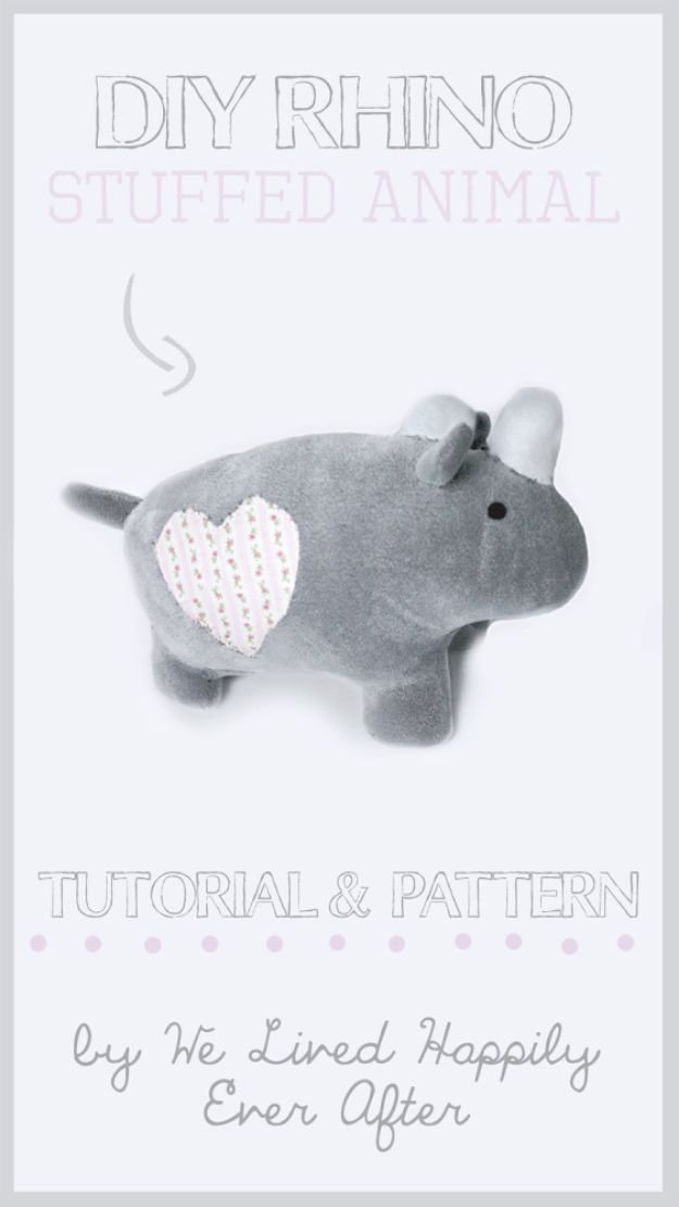 DIY Nursery Decor Ideas for Boys - DIY Stuffed Animal Rhino - Cute Blue Room Decorations for Baby Boy- Crib Bedding, Changing Table, Organization Idea, Furniture and Easy Wall Art