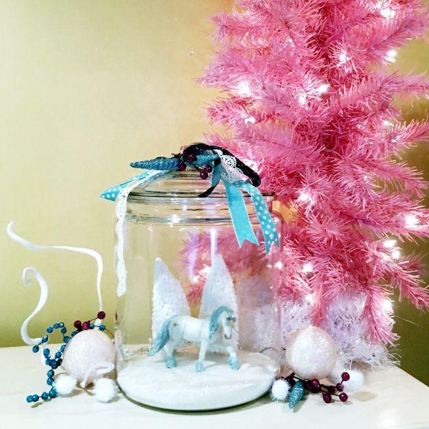 DIY Snow Globe Ideas - DIY Unicorn Snow Globe - Easy Ideas To Make Snow Globes With Kids - Mason Jar, Picture, Ornament, Waterless Christmas Crafts - Cheap DYI Holiday Gift Ideas