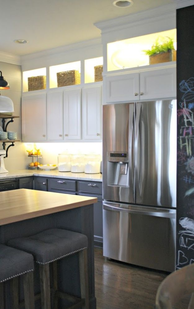 DIY Kitchen Cabinets - DIY Upper and Lower Cabinet Lighting - Makeover Ideas for Kitchen Cabinet - Build and Design Kitchen Cabinet Projects on A Budget - Cheap Reface Idea and Tutorial