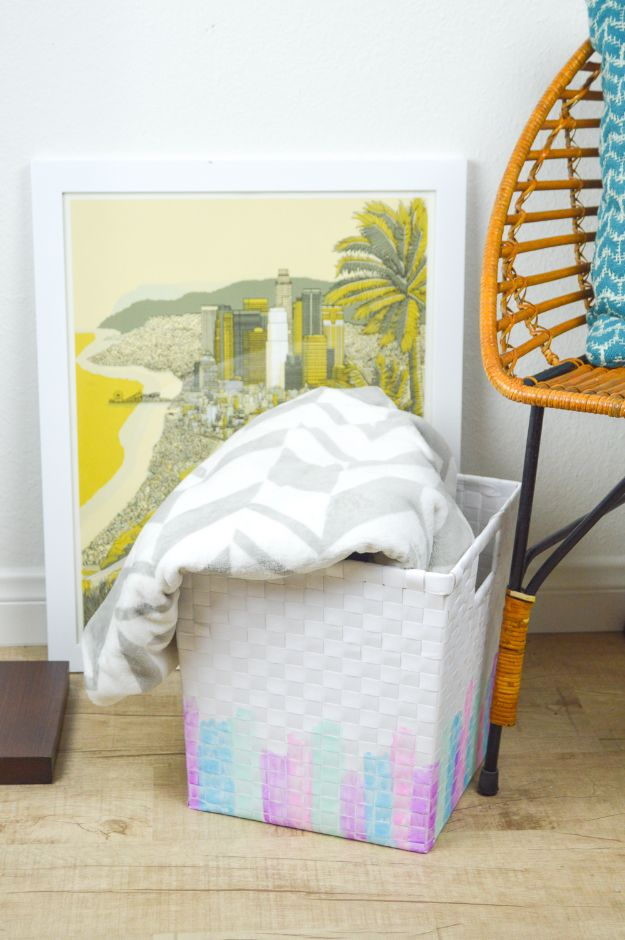 Fun DIY Ideas for Adults - DIY Watercolor Basket Makeover - Easy Crafts and Gift Ideas , Cool Projects That Are Fun to Make - Crafts Idea for Men and Women