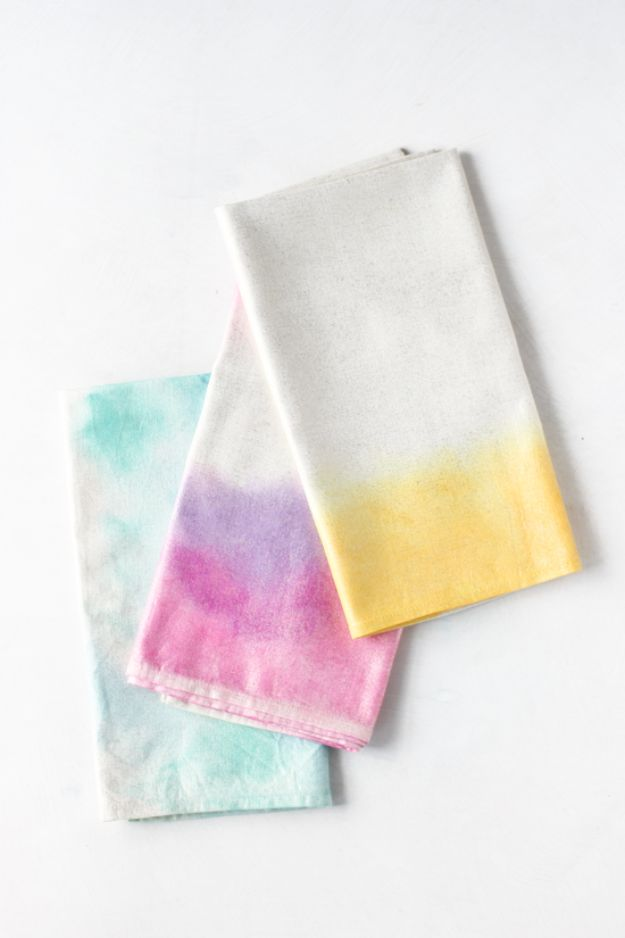 Fun DIY Ideas for Adults - DIY Watercolor Napkins - Easy Crafts and Gift Ideas , Cool Projects That Are Fun to Make - Crafts Idea for Men and Women