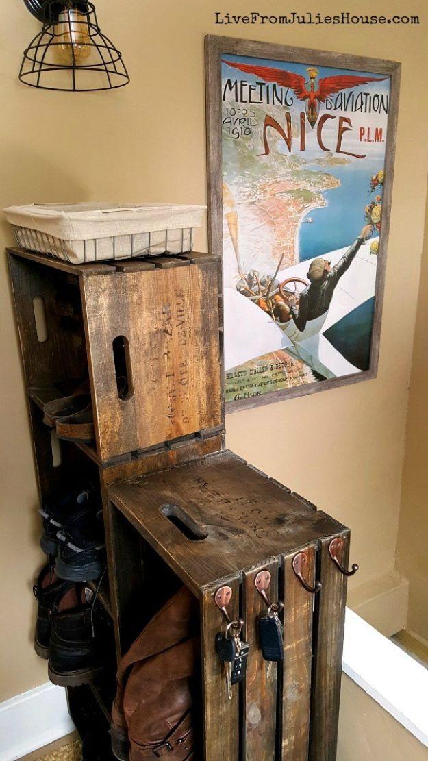 DIY Shoe Racks - DIY Wooden Crate Shoe Rack - Easy DYI Shoe Rack Tutorial - Cheap Closet Organization Ideas for Shoes - Wood Racks, Cubbies and Shelves to Make for Shoes