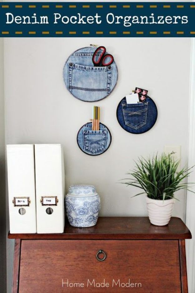 Fun DIY Ideas for Adults - Denim Pocket Organizers - Easy Crafts and Gift Ideas , Cool Projects That Are Fun to Make - Crafts Idea for Men and Women