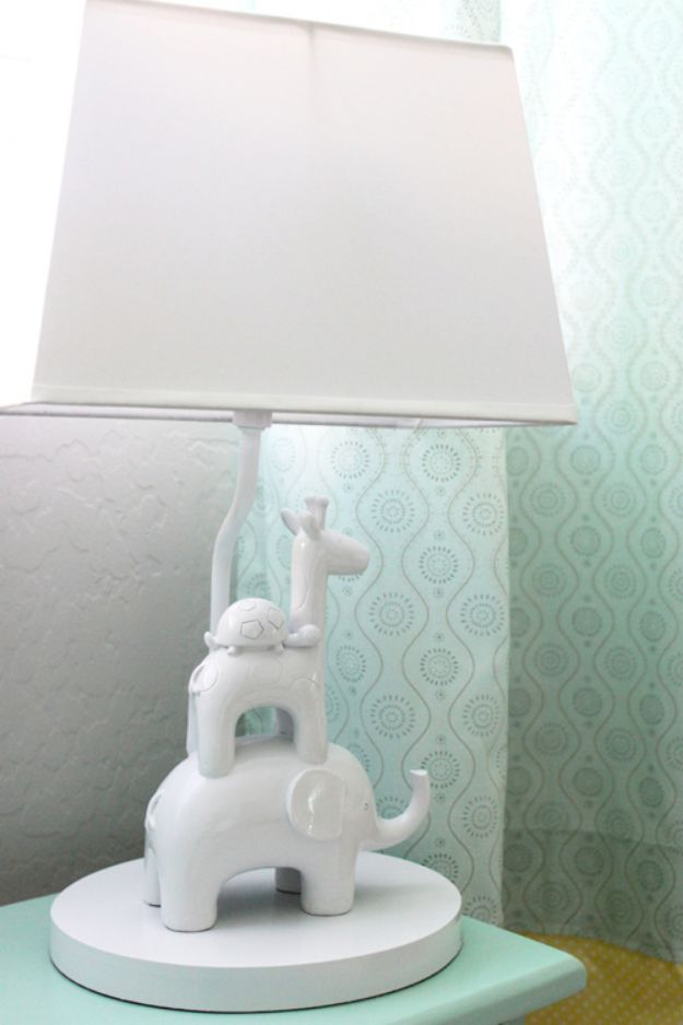 DIY Nursery Decor Ideas for Boys - Designer Knock Off Lamp - Cute Blue Room Decorations for Baby Boy- Crib Bedding, Changing Table, Organization Idea, Furniture and Easy Wall Art