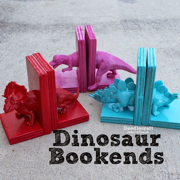DIY Nursery Decor Ideas for Boys - Dinosaur Bookends with Hot Glue - Cute Blue Room Decorations for Baby Boy- Crib Bedding, Changing Table, Organization Idea, Furniture and Easy Wall Art