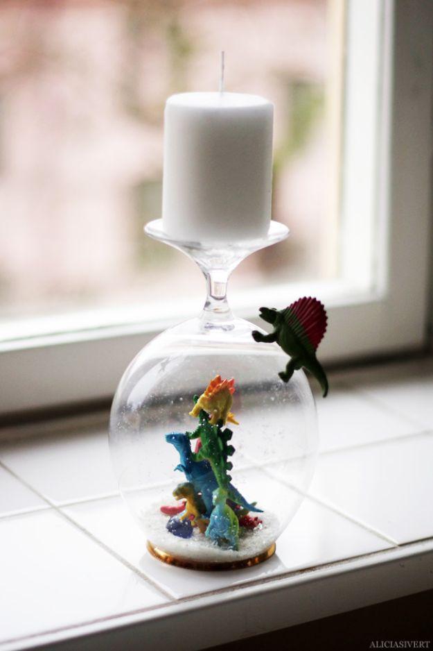 DIY Snow Globe Ideas - Dinosaur Snow Globe - Easy Ideas To Make Snow Globes With Kids - Mason Jar, Picture, Ornament, Waterless Christmas Crafts - Cheap DYI Holiday Gift Ideas