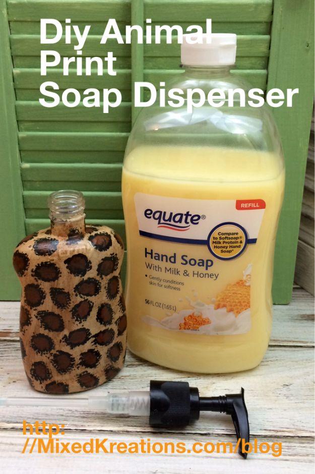 DIY Soap Dispensers - Diy Animal Print Soap Dispenser - Easy Soap Dispenser Ideas to Make for Kitchen, Bathroom - Mason Jar Idea, Cute Crafts to Make and Sell, Kids Bath Decor