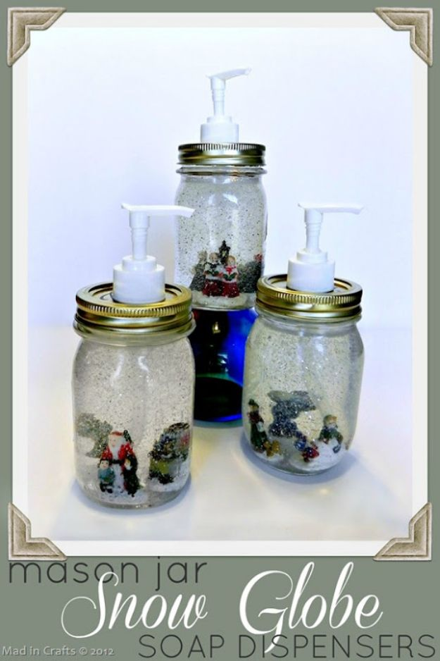 DIY Soap Dispensers - Dollar Store Mason Jar Snow Globe Soap Dispensers - Easy Soap Dispenser Ideas to Make for Kitchen, Bathroom - Mason Jar Idea, Cute Crafts to Make and Sell, Kids Bath Decor