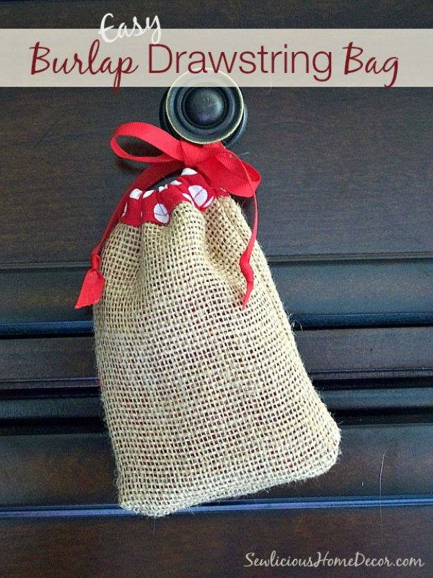 Sewing Projects to Make and Sell - Easy Burlap Drawstring Bag - Easy Things to Sew and Sell on Etsy and Online Shops - DIY Sewing Crafts With Free Pattern and Tutorial