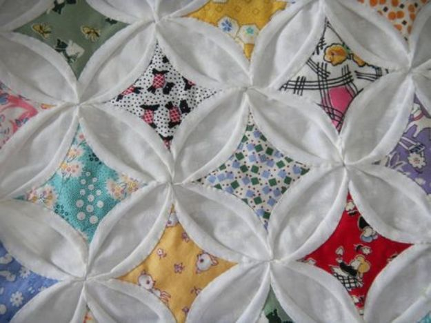 Easy Quilt Ideas for Beginners - Easy Cathedral Window Quilt - Free Quilt Patterns and Simple Projects With Fat Quarters - How to Make Baby Blankets, Table Runners, Jelly Rolls