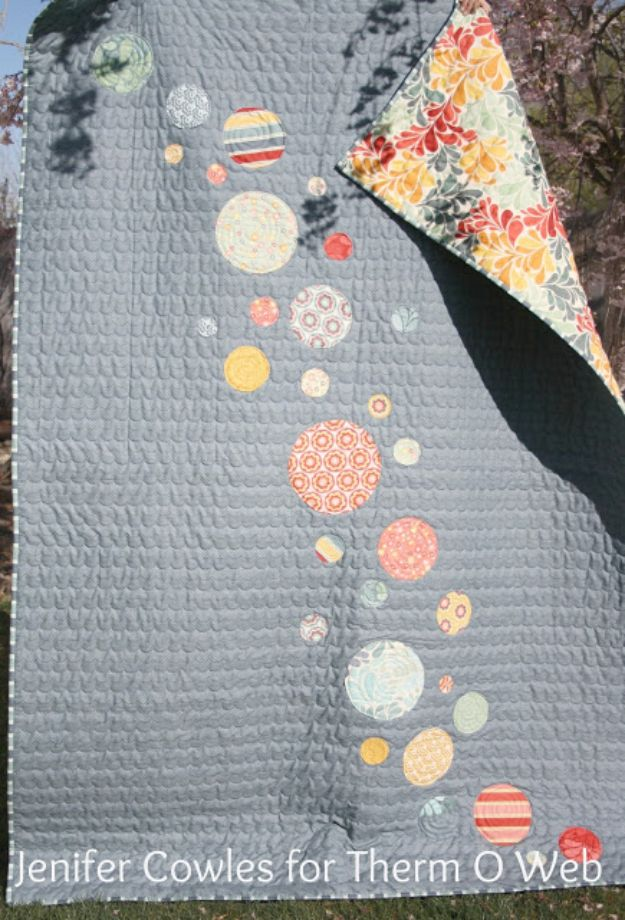 Easy Quilt Ideas for Beginners - Easy Circle Quilt - Free Quilt Patterns and Simple Projects With Fat Quarters - How to Make Baby Blankets, Table Runners, Jelly Rolls