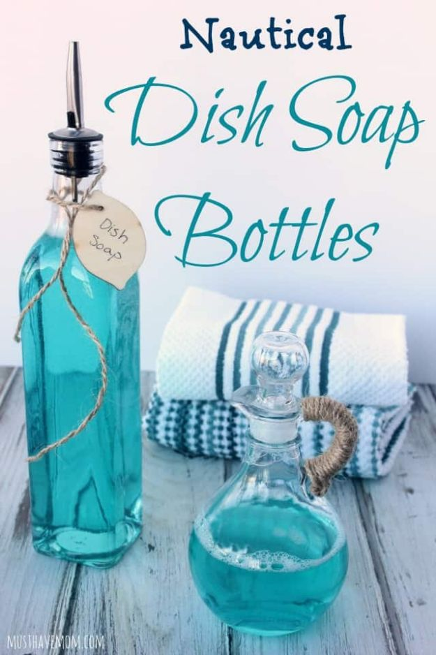 DIY Soap Dispensers - Easy DIY Nautical Dish Soap Bottles - Easy Soap Dispenser Ideas to Make for Kitchen, Bathroom - Mason Jar Idea, Cute Crafts to Make and Sell, Kids Bath Decor