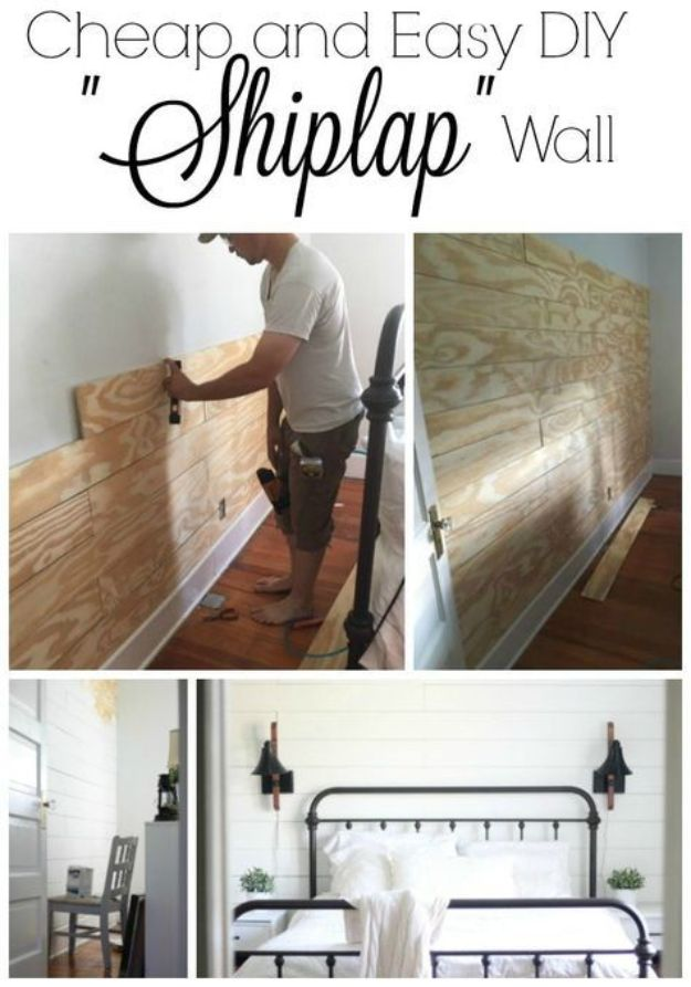 DIY Bedroom Decor Ideas - Easy DIY Shiplap Wall - Easy Room Decor Projects for The Home - Cheap Farmhouse Crafts, Wall Art Idea, Bed and Bedding, Furniture
