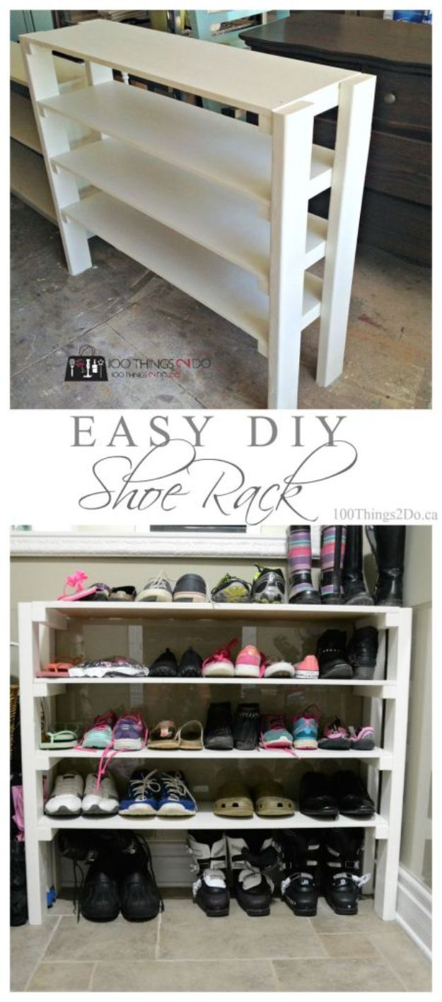 DIY Shoe Racks - Easy DIY Shoe Rack - Easy DYI Shoe Rack Tutorial - Cheap Closet Organization Ideas for Shoes - Wood Racks, Cubbies and Shelves to Make for Shoes