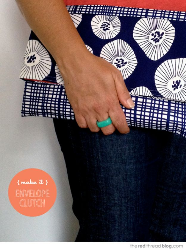 Sewing Projects to Make and Sell - Easy Envelope Clutch Purse - Easy Things to Sew and Sell on Etsy and Online Shops - DIY Sewing Crafts With Free Pattern and Tutorial