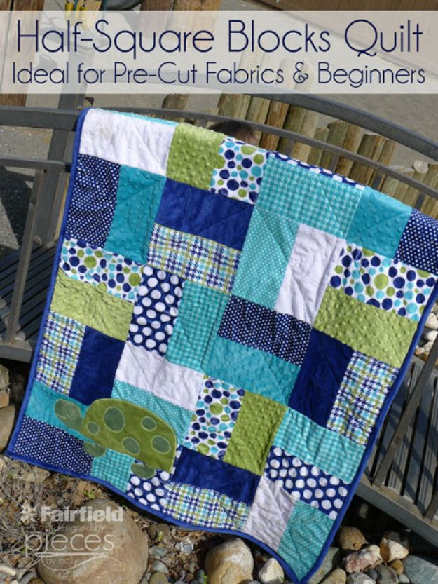 Easy Quilt Ideas for Beginners - Easy Half-Square Blocks Quilt - Free Quilt Patterns and Simple Projects With Fat Quarters - How to Make Baby Blankets, Table Runners, Jelly Rolls