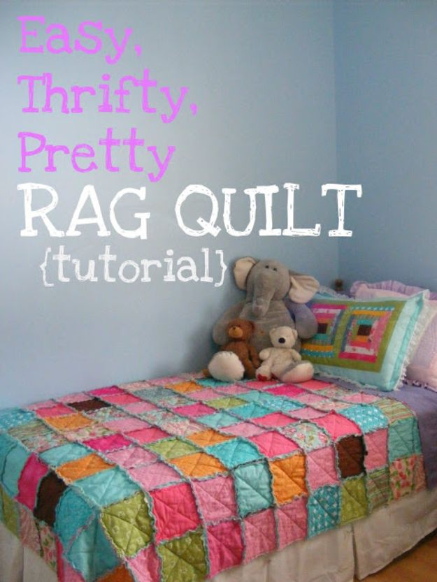 Easy Quilt Ideas for Beginners - Easy, Thrifty, Pretty Rag Quilt - Free Quilt Patterns and Simple Projects With Fat Quarters - How to Make Baby Blankets, Table Runners, Jelly Rolls
