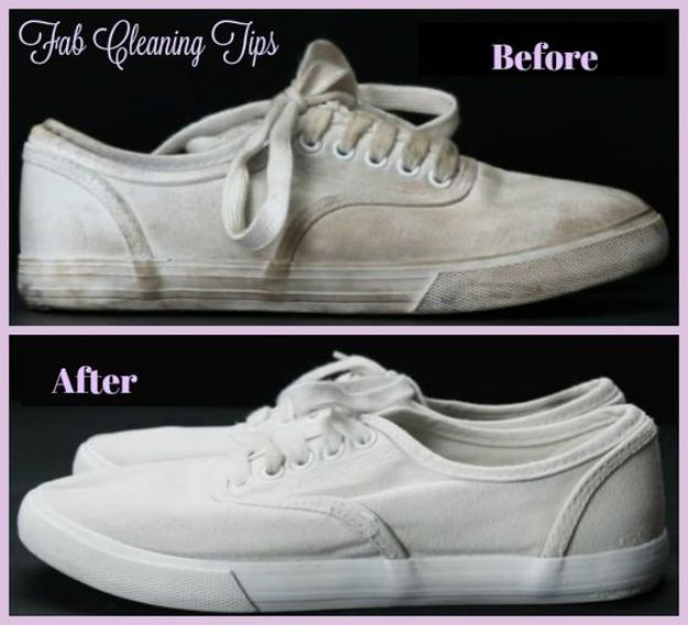 Laundry Hacks - Easy Way To Clean Your White Shoes - Cool Tips for Busy Moms and Laundry Lifehacks - Laundry Room Organizing Ideas, Storage and Makeover - Folding, Drying, Cleaning and Stain Removal Tips for Clothes - How to Remove Stains, Paint, Ink and Smells - Whitening Tricks and Solutions - DIY Products and Recipes for Clothing Soaps http://diyjoy.com/laundry-hacks