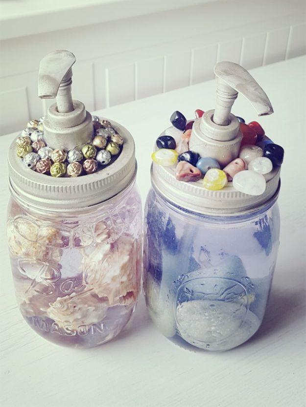 DIY Soap Dispensers - Embellished Soap Dispenser - Easy Soap Dispenser Ideas to Make for Kitchen, Bathroom - Mason Jar Idea, Cute Crafts to Make and Sell, Kids Bath Decor