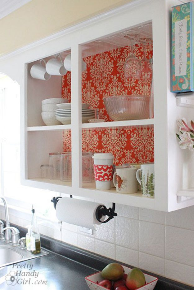 DIY Kitchen Cabinets - Fabric Backed Open Kitchen Cabinets - Makeover Ideas for Kitchen Cabinet - Build and Design Kitchen Cabinet Projects on A Budget - Cheap Reface Idea and Tutorial