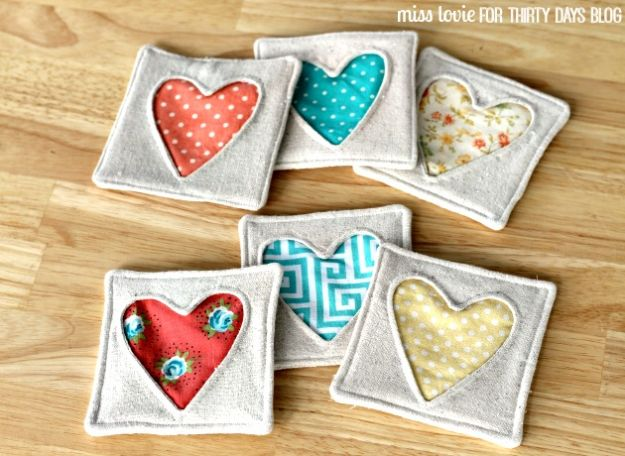Sewing Projects to Make and Sell - Fabric Heart Coasters - Easy Things to Sew and Sell on Etsy and Online Shops - DIY Sewing Crafts With Free Pattern and Tutorial