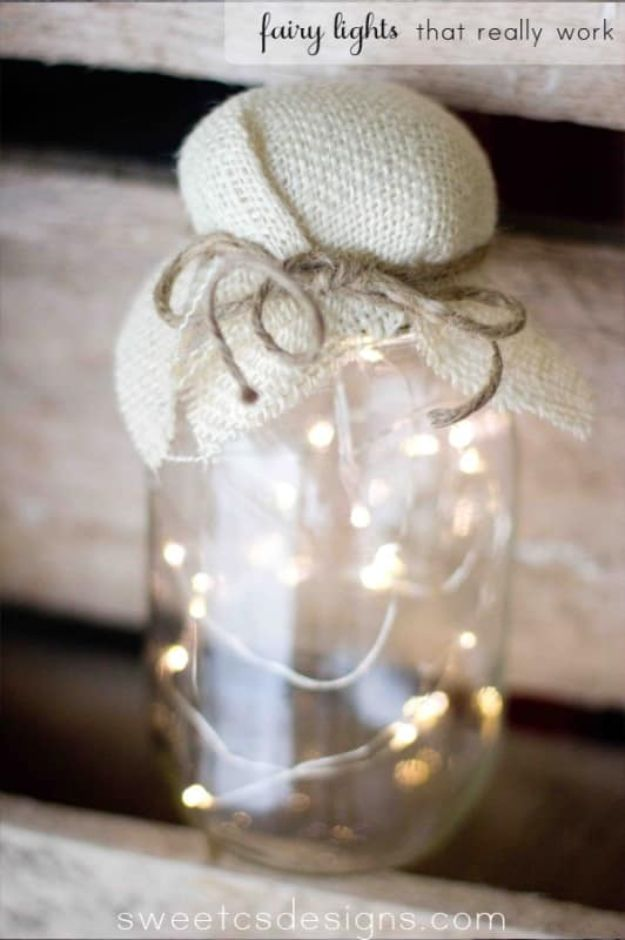 DIY Bedroom Decor Ideas - Fairy Light Jar - Easy Room Decor Projects for The Home - Cheap Farmhouse Crafts, Wall Art Idea, Bed and Bedding, Furniture