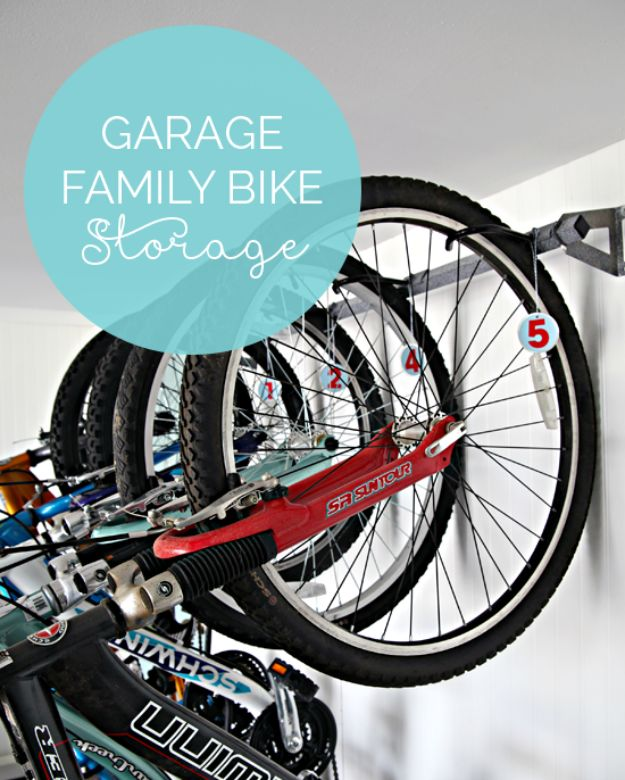 DIY Garage Organization Ideas - Family Bike Storage - Cheap Ways to Organize Garages on A Budget - Ideas for Storage, Storing Tools, Small Spaces, DYI Shelves, Organizing Hacks