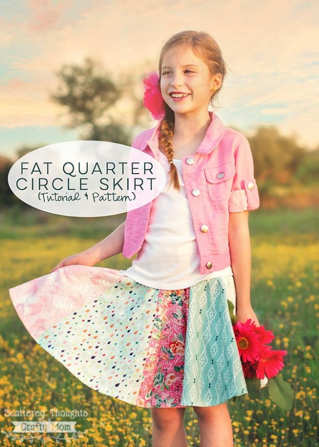 Sewing Projects for Fat Quarters - Fat Quarter Circle Skirt - Easy Clothes Ideas to Sew For Kids With a Fat Quarter - Quick DIY Gifts, Quilt, Placemats, DIY Baby Gift, Project for The Home, Kids, Christmas