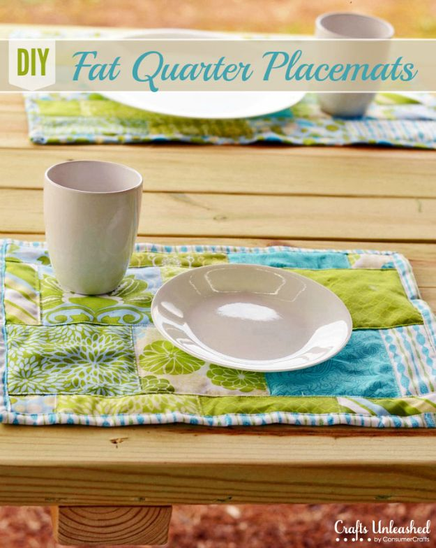Sewing Projects for Fat Quarters - Fat Quarter DIY Placemats - Easy Ideas to Sew With a Fat Quarter - Quick DIY Gifts, Quilt, Placemats, DIY Baby Gift, Project for The Home, Kids, Christmas