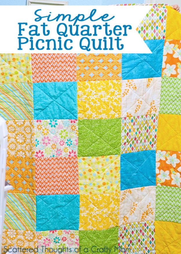 Sewing Projects for Fat Quarters - Fat Quarter Picnic Quilt - Easy Ideas to Sew With a Fat Quarter - Quick DIY Gifts, Quilt, Placemats, DIY Baby Gift, Project for The Home, Kids, Christmas