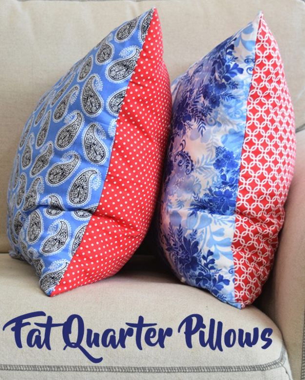 Sewing Projects for Fat Quarters -Fat Quarter Pillows DIY - Easy Ideas to Sew With a Fat Quarter - Quick DIY Gifts, Quilt, Placemats, DIY Baby Gift, Project for The Home, Kids, Christmas