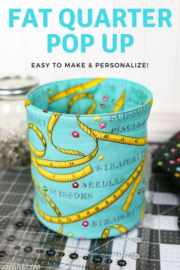 Sewing Projects for Fat Quarters - Fat Quarter Pop Up Fabric Bucket - Easy Ideas to Sew With a Fat Quarter - Quick DIY Gifts, Quilt, Placemats, DIY Baby Gift, Project for The Home, Kids, Christmas