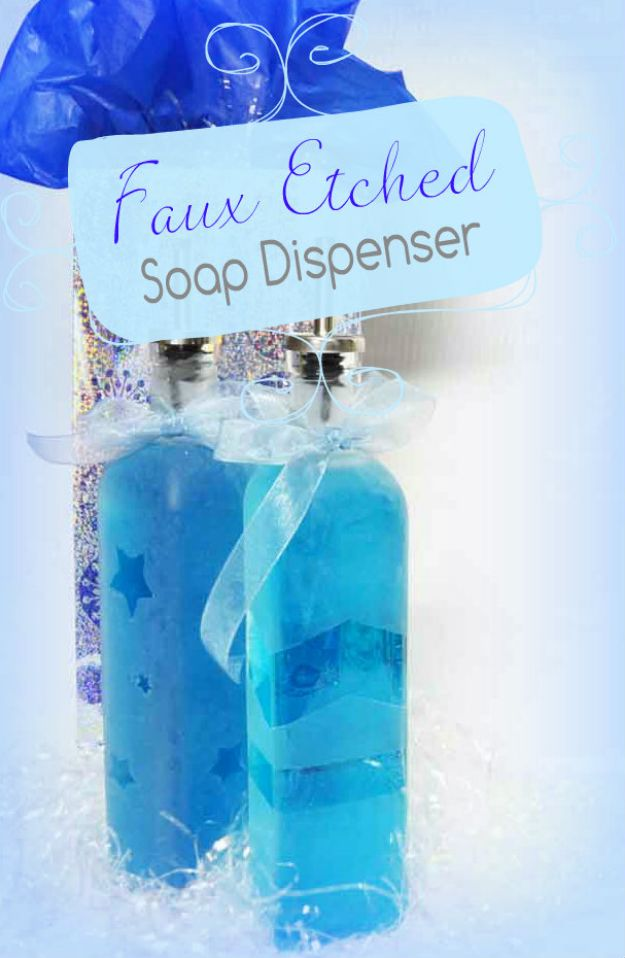 DIY Soap Dispensers - Faux Etched Glass Soap Dispenser - Easy Soap Dispenser Ideas to Make for Kitchen, Bathroom - Mason Jar Idea, Cute Crafts to Make and Sell, Kids Bath Decor