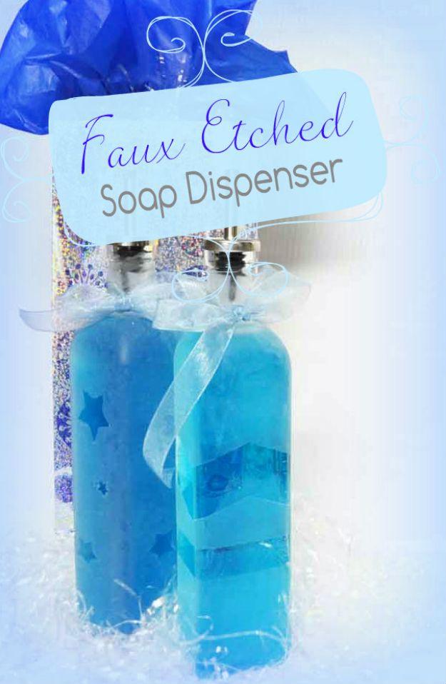 DIY Soap Dispensers - Faux Etched Glass Soap Dispenser - Easy Soap Dispenser Ideas to Make for Kitchen, Bathroom - Mason Jar Idea, Cute Crafts to Make and Sell, Kids Bath Decor