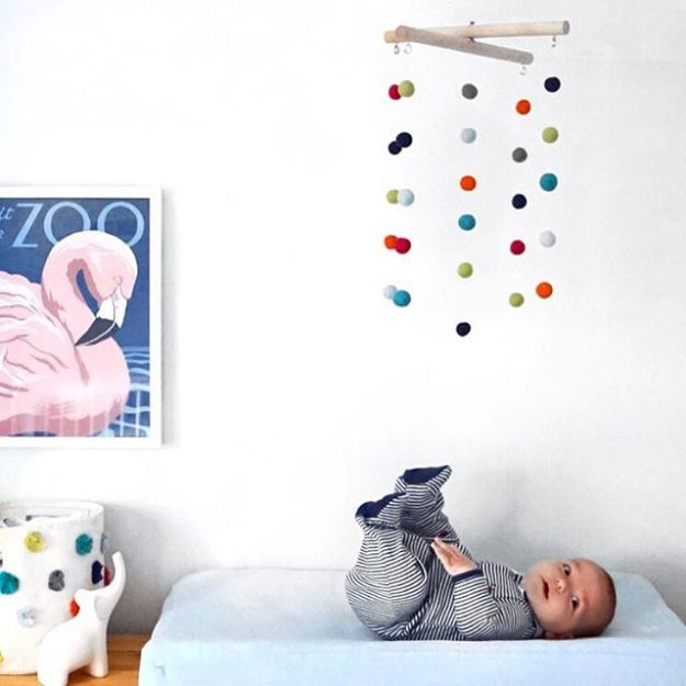 DIY Nursery Decor Ideas for Boys - Felt Ball Nursery Mobile - Cute Blue Room Decorations for Baby Boy- Crib Bedding, Changing Table, Organization Idea, Furniture and Easy Wall Art