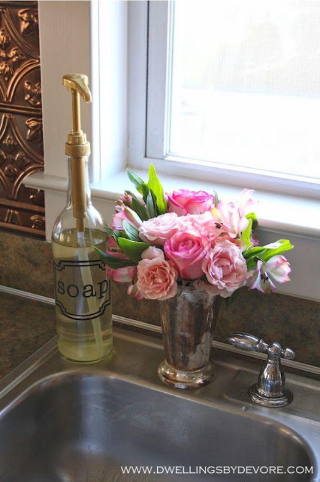 DIY Soap Dispensers - Flavored Syrup Bottle Soap Dispenser - Easy Soap Dispenser Ideas to Make for Kitchen, Bathroom - Mason Jar Idea, Cute Crafts to Make and Sell, Kids Bath Decor
