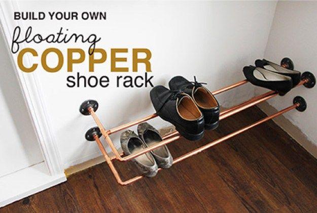 DIY Shoe Racks - Floating Copper Shoe Rack - Easy DYI Shoe Rack Tutorial - Cheap Closet Organization Ideas for Shoes - Wood Racks, Cubbies and Shelves to Make for Shoes